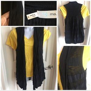Sleeveless Stripped Cardigan Plus
